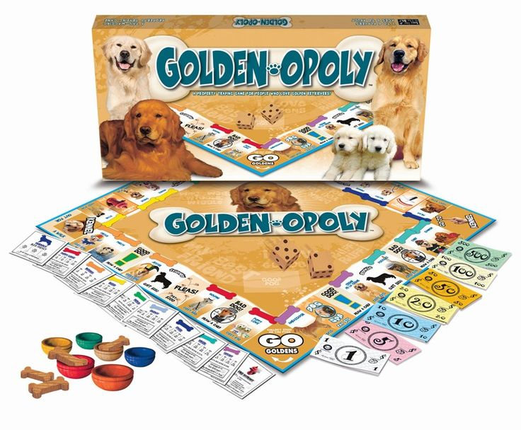 GENTLE, INTELLIGENT, FRIENDLY, EAGER TO PLEASE MEET THE GOLDEN! GOLDEN-OPOLY IS A GAME OF TAIL-WAGGING FUN! COLLECT YOUR FAVORITE GOLDENS AND PLAY HARD! Increase your rent by buying Toys for your dogs and upgrading them to Big Bones. Sounds easy enough until you get fleas, have an accident on the carpet, or worse yet, get sent to the kennel! GRAB YOUR TOKEN AND ADVANCE TO GO GOLDENS! Who knows! You may soon be Best in Show… or marching in the dog parade!