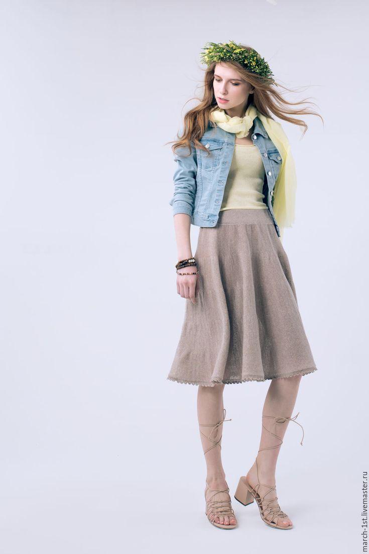 Купить или заказать Юбка из хлопка с фестонами в интернет-магазине на Ярмарке Мастеров. Невероятно изящная вязаная юбка-солнце из струящегося хлопка! Отделка - фестоны ручной работы, из той же нити, что и сама юбка. В наличии: цвет лен меланж, р-р 42-44.