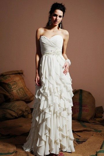 2013 Unique Ruching Tiers Sweetheart Chiffon Ivory Column Wedding Dress Sale Online - DRESSESMALL