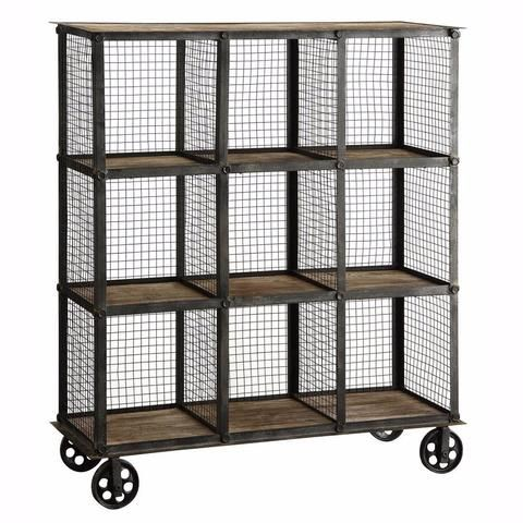 Industrial Metal and Wood Bookcase On Wheels by Crestview Collection