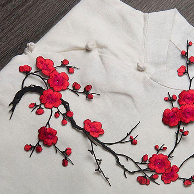 nouveau plum blossom fleur applique v tements broderie patch tissu autocollant fer sur coudre. Black Bedroom Furniture Sets. Home Design Ideas