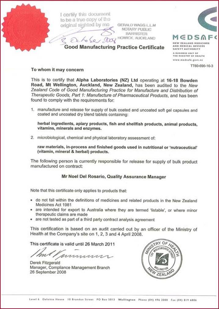 The certificate from MEDSAFE