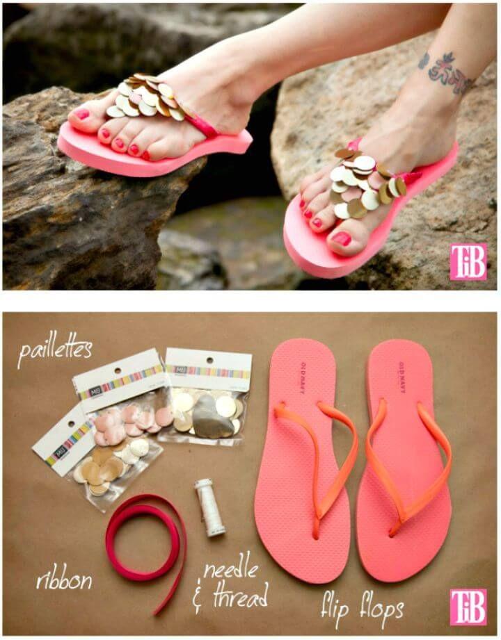 556884de85ce9 DIY Flip Flops With Paillettes - DIY Flip Flops -25 Ways to Refashion Your  Flip Flops - DIY   Crafts