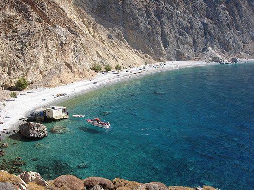 Playa de Glika Nera (Aguas Dulces), en la región de Sfakia, suroeste de Creta