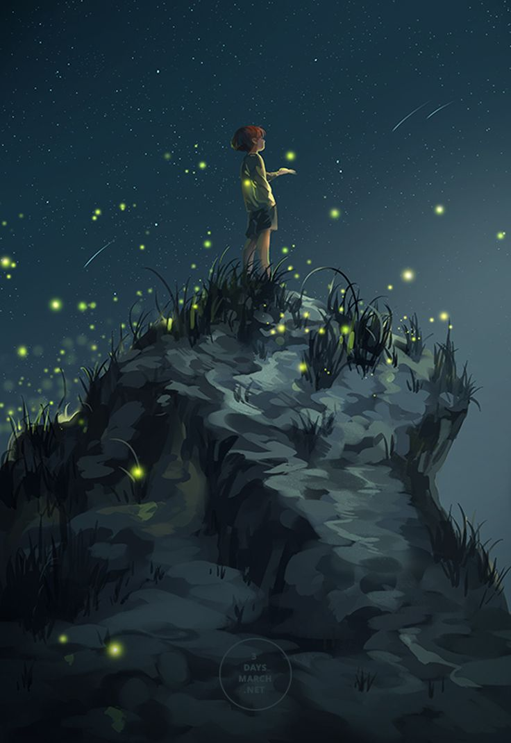 fireflies and starlight - artist unknown
