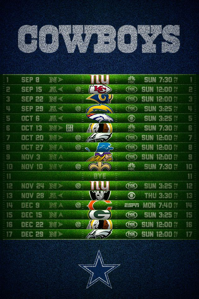 Dallas Cowboys 2013 Football Schedule iPhone 4 Wallpapers
