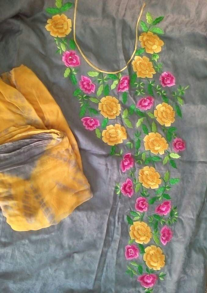 Machine Embroidered In Grey Color With Contrast Yellow Bottom , With Pure Chinon Chiffon Dupatta