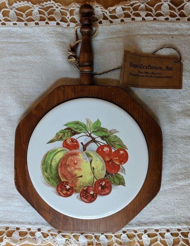 Cape Craftsmen Wood & Tile Trivet Fruit Apples Cherries with Original Tag * #CapeCraftsmen