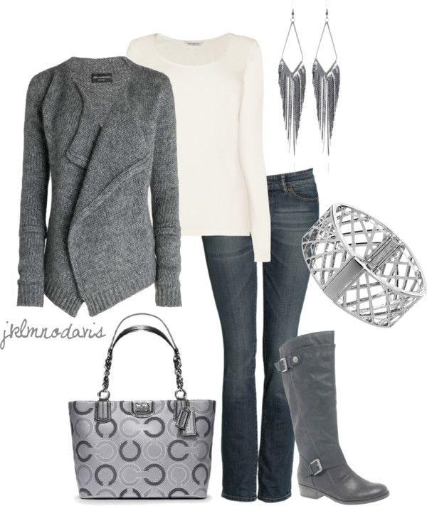 """""""Gray & White"""" ; cute. I would have to trade in the purse for a diaper bag though. The life of being a mommy lol"""