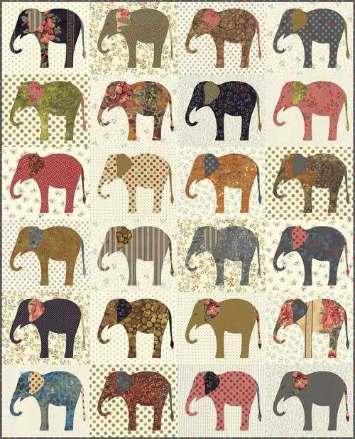 Elephants applique quilt pattern by Edyta Sitar | Laundry Basket Quilts