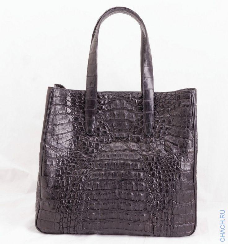 Сумка из натуральной крокодиловой кожи черная, с подкладкой из натуральной замши