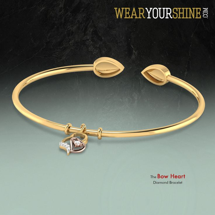 """Invite a blush-filled love with """"The Bow Heart Bracelet"""" at WearYourShine.com  Click on the image to shop!  #Fashion #Trends #Love #Like #Style #Jewellery #IndianJewellery #India #Accessories #Bracelet #Heart #Bow #Modish"""