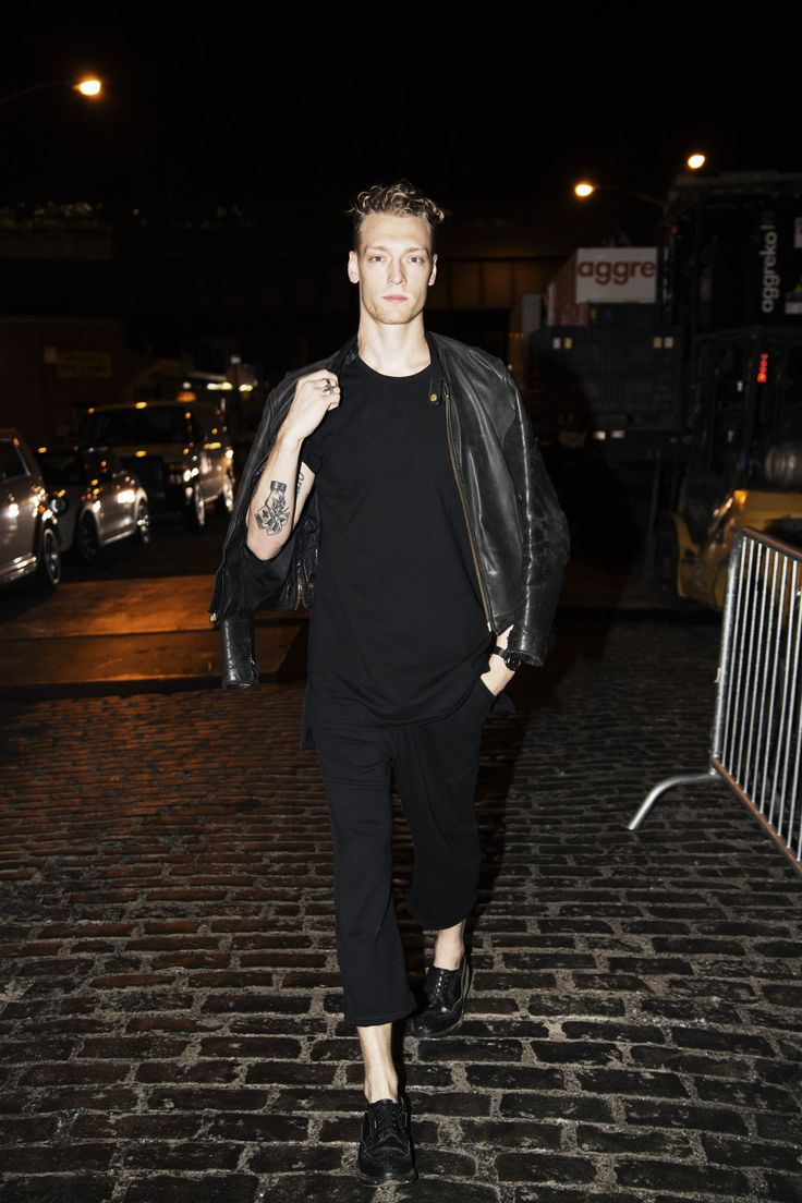 Marshall paired the Onepiece Horisont Pant and Out Tee with his favorite leather moto jacket at NYFW 2016, taking edgy style cues from his recent editorial in i-D magazine.
