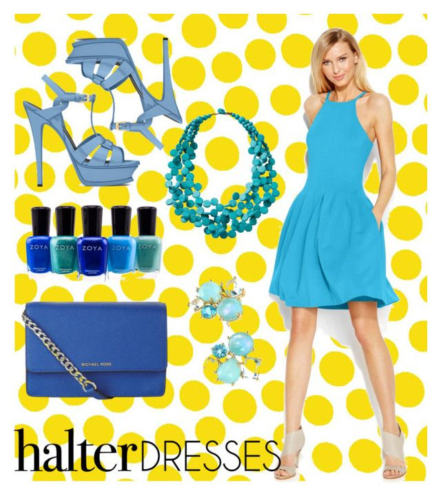 """Halter Dress"" by betterthanbalmain ❤ liked on Polyvore featuring Jennifer Paganelli, Calvin Klein, TravelSmith, Zoya, MICHAEL Michael Kors, Yves Saint Laurent and Ippolita"