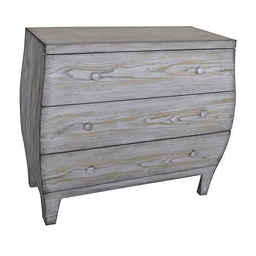 Plymouth 3 Drawer Light Driftwood Curved Chest Crestview