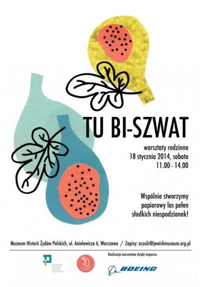 Plakat do warsztatu z okazji święta Tu Bi-Szwat w Muzeum Historii Żydów Polskich POLIN / Magdalena Kreis