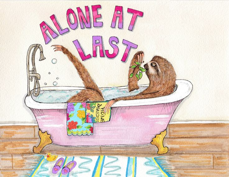 Sloth in a tub painting, happy sloth art, funny sloth watercolor, bathroom art, clawfoot tub painting by YankeeDimeCreations on Etsy