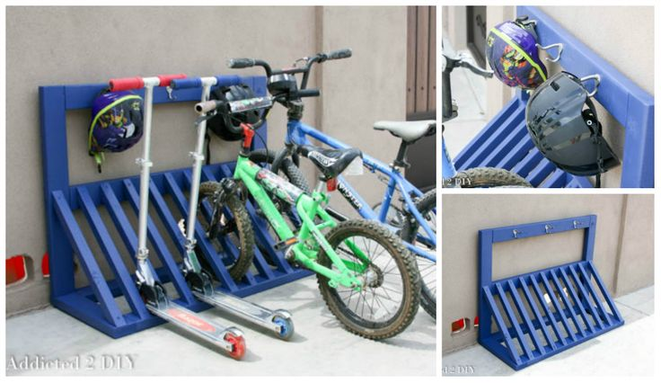 Build this simple and inexpensive bike rack. It not only keeps bikes and scooters organized, but there's a place to hang helmets! Go to addicted2diy.com for free printable plans. You might also like: DIY Bike Rack Facebook Google+ Pinterest Twitter