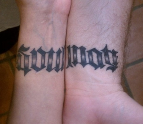Matching ambigram tattoos that when the wrists are put for What do you put on a tattoo