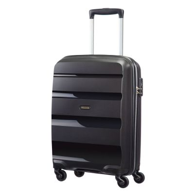 American Tourister 55cm Bon Air Spinner in black. Take on the world with this super strong case.  www.zelows.com.au