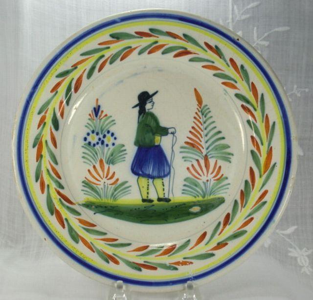 Henriot Quimper France Petit Breton 9 Inch Plate ca 1935