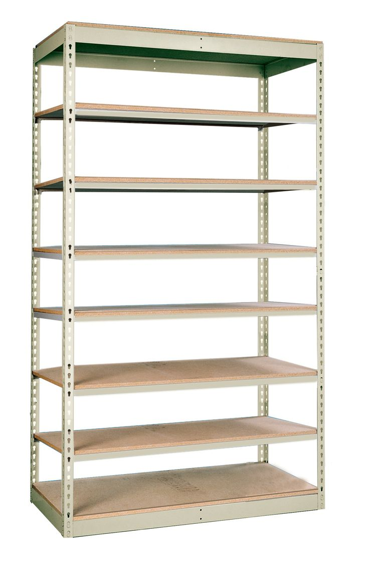 "Hallowell SRS481884-8SP Rivetwell Single Rivet Boltless Shelving, 48"" Width x 18"" Depth x 84"" Height, 8 Levels Starter Unit, 729 Parchment"