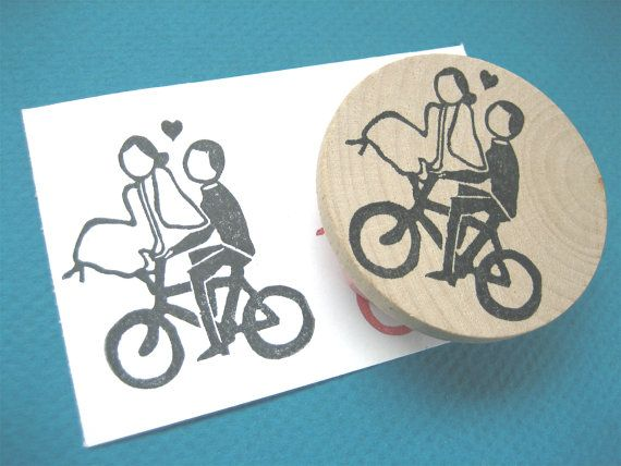 Bicycle Wedding Couple, Bride and Groom on a Bike Rubber Stamp, Hand Carved. $12.00, via Etsy.