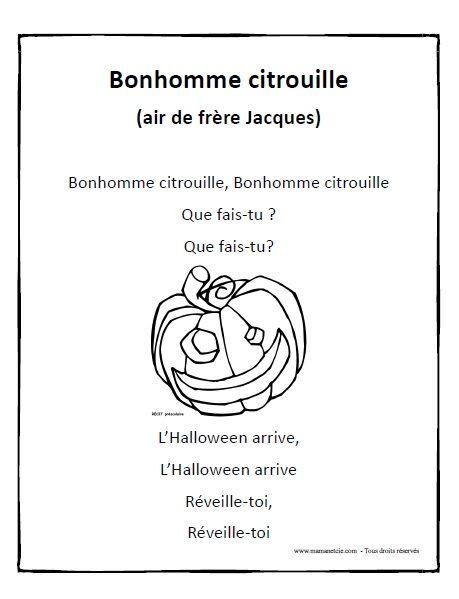 Chanson - Bonhomme citrouille à imprimer en .pdf