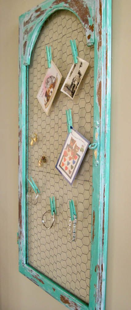 Shabby Cottage Chicken Wire Door Jewelry Card by olliesfinethings, $69.00