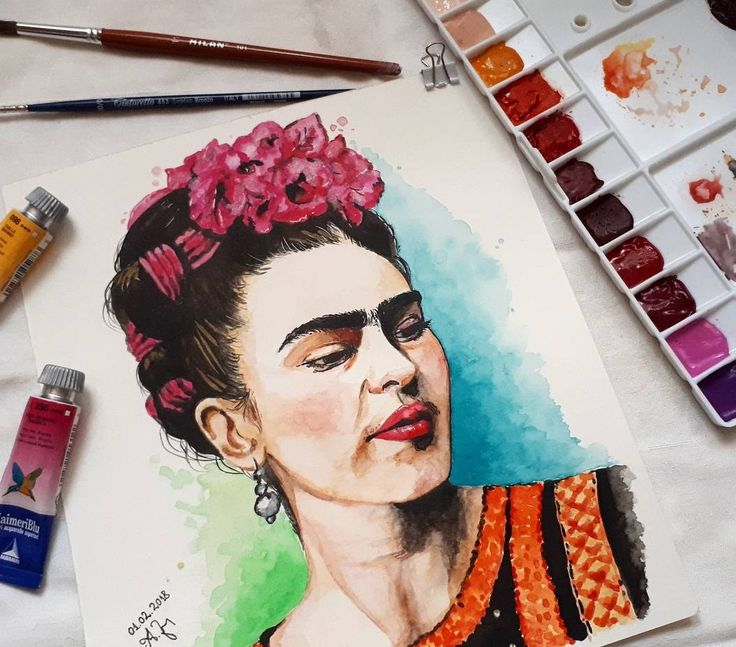 Frida Kahlo watercolor painting @alexandra.zeres.art