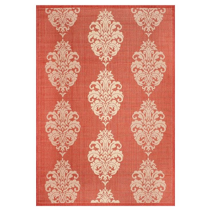Orly Rectangle 4' X 5'7 Outdoor Rug - Red / Natural - Safavieh, Red/Natural