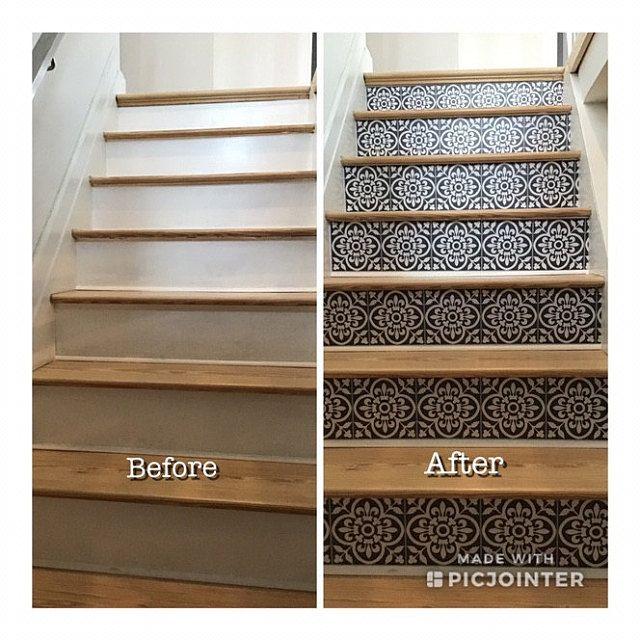 Tile Sticker For Kithchen Backsplash Bath Floor Wall Waterproof Removable Peel N Stick A91 In 2020 Stair Riser Vinyl Tile Stickers Kitchen Wall Waterproofing
