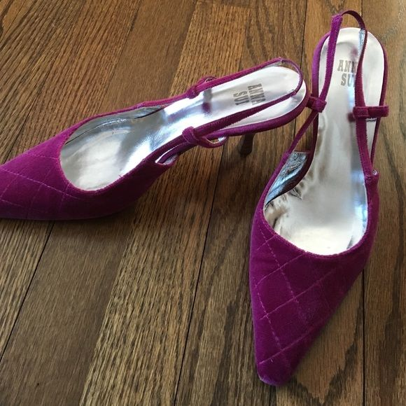 "Anna Sui velvet heels. 38/8 100% authentic Anna Sui (almost kitten) heels. Approx. 2"" heel. Velvet cross stitch. Great condition. Anna Sui Shoes Heels"