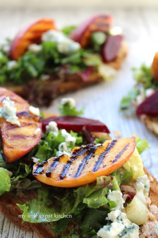 Tartines of Grilled Peaches, Beetroot and Blue Cheese with Walnut and ...