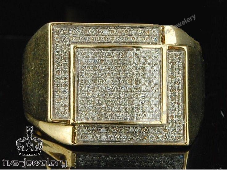 Mens Diamond Pinky Ring 14K Yellow Gold 2.20 Carat Round Cut Wedding Band #tvsjewelery #EngagementWeddingPinkyBandRing #WeddingEngagementAnniversary