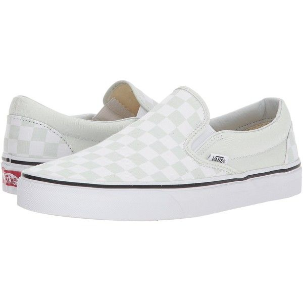 24c2f69de0 Vans Classic Slip-Ontm ((Checkerboard) Blue Flower True White) Skate...  ( 50) ❤ liked on Polyvore featuring shoes