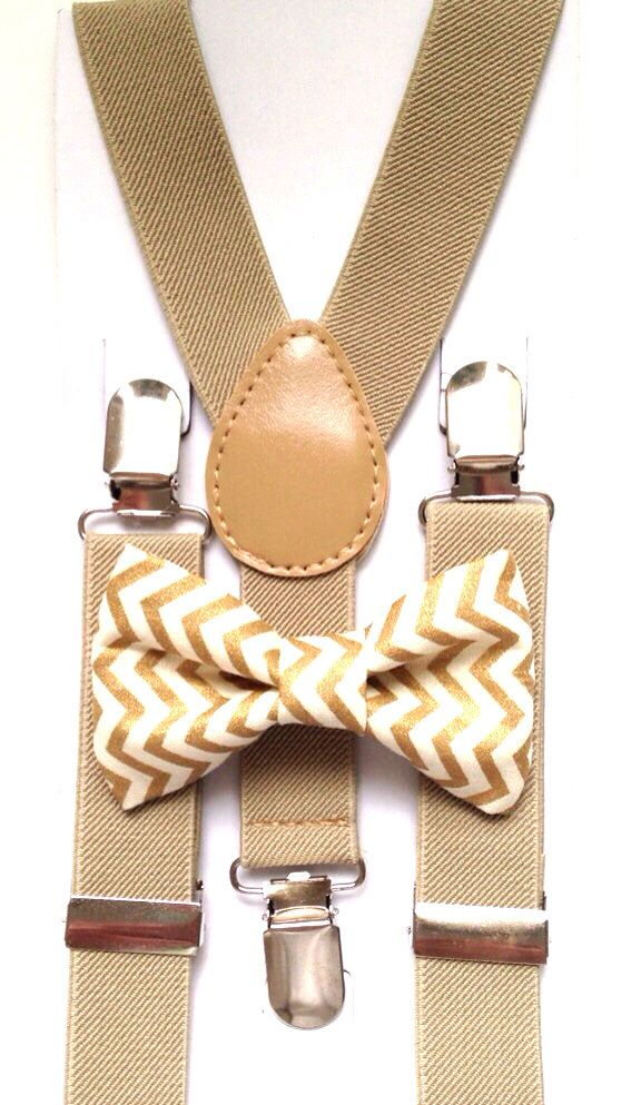Tan suspenders + Matching Gold Chevron Bow Tie kids children toddler baby boys boy teens adult gold family photos photo prop holiday picture by BowTieFun on Etsy https://www.etsy.com/listing/209038864/tan-suspenders-matching-gold-chevron-bow