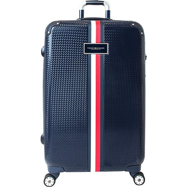 "Tommy Hilfiger Basketweave 28"" Expandable Hardside Checked Spinner... (£150) ❤ liked on Polyvore featuring bags, luggage and blue"