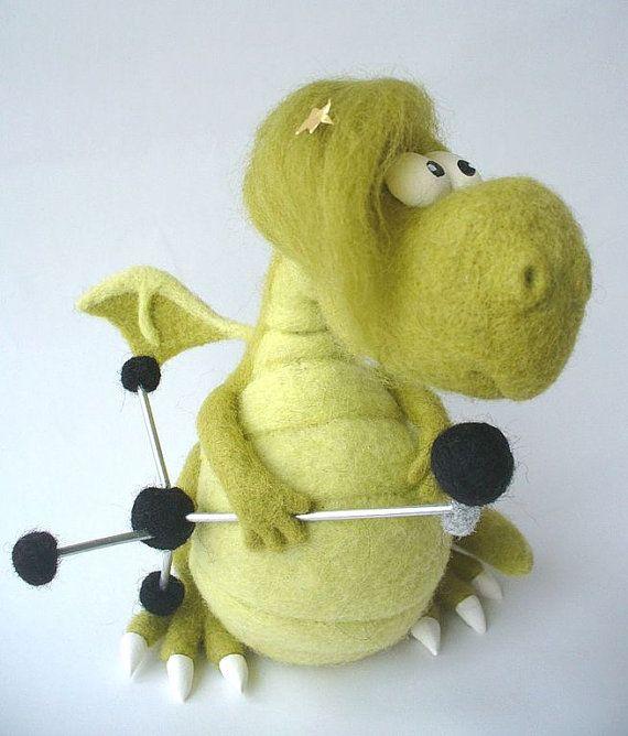 Needle Felted Toy Dragon Elvis by TashaToys on Etsy, $96.00