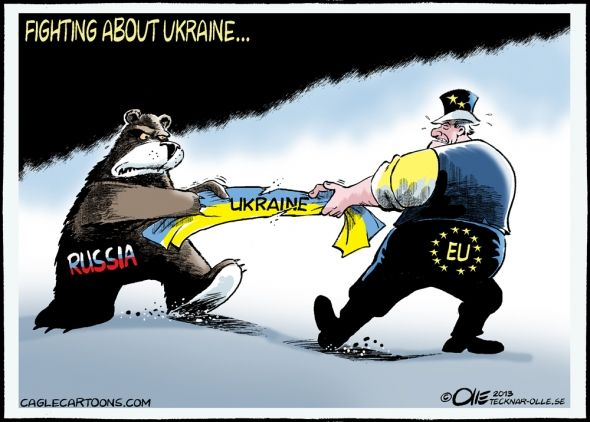 This political cartoon demonstrates Ukraine being torn apart by both Russia and the European Union. Different states that are members of the OSCE have different viewpoints and values. Does OSCE have a set of overarching values? Would they trump the values of individual states? Finally, if OSCE demonstrates prevailingly European values, how can the reports of the organization be truly objective?