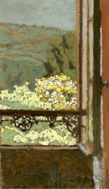 Edouard Vuillard:  La fenêtre ouverte sur les arbres en fleur
