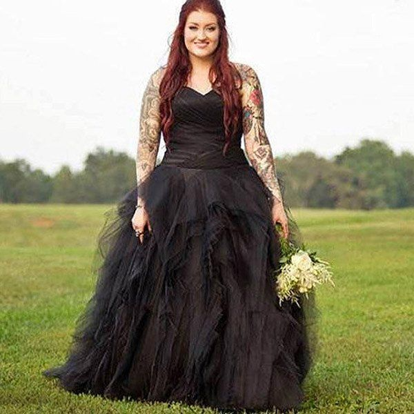 Non Traditional Red Wedding Dresses: Gothic Tulle And Satin Shredded Style Wedding Dress