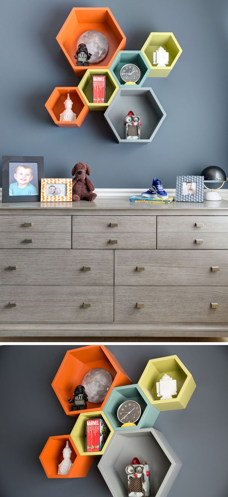 In this boys bedroom the wood dresser, multi-colored hexagonal shelves hold more precious space treasures, like Star Wars figurines, and space themed comic books.