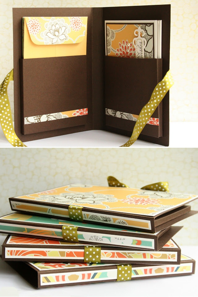 Card sets, by Debby @Limedoodle.com. She repurposed stationary that wasn't being used to make her own handmade cards in a folder.