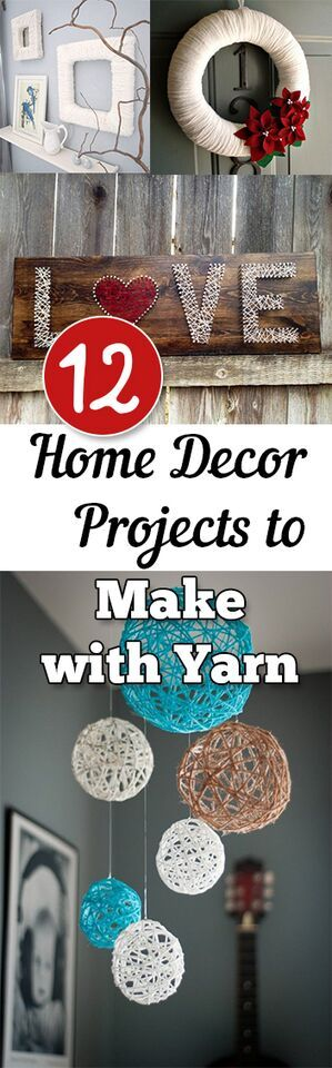 12 Home Decor Projects to Make with Yarn. DIY, DIY home projects, home décor, home, dream home, DIY. projects, home improvement, inexpensive home improvement, cheap home DIY.