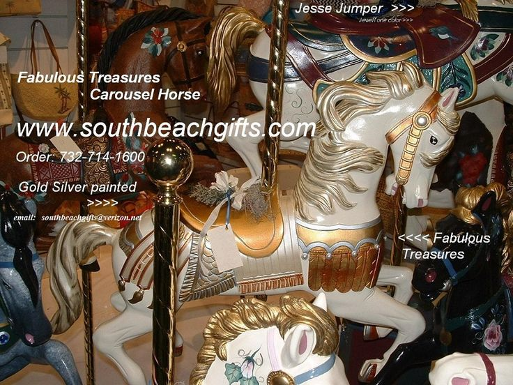 Carousel Horses for sale for decorating a room for a home or event! hand painted in 12 of our popular colors, Gold silver, mauve seafoam, pastel, jewel tones, candy citrus colors, black, brown, Pinto, lavender, rose, dapple grey, USA colors red white and blue!  Order 732-714-1600 email us southbeachgifts@verizon.net