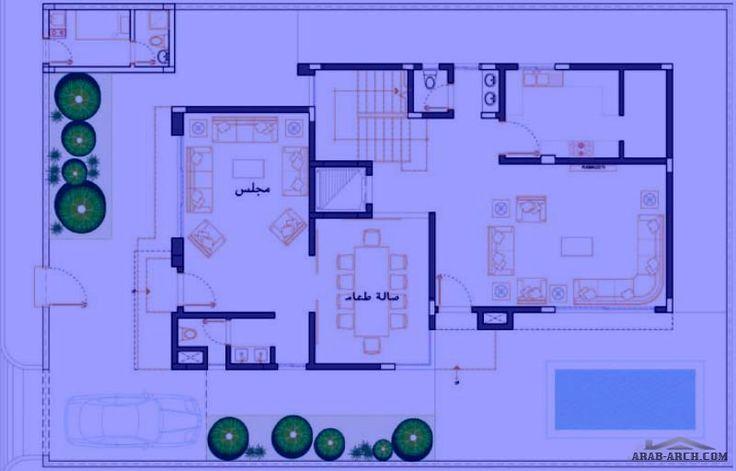 مخطط فيلا الامواج نموذج D مسطح البناء 408 متر مربع متوسط مساحة الارض 381 متر مربع Arab Arch Villa Plan Bungalow House Plans Classic House Design