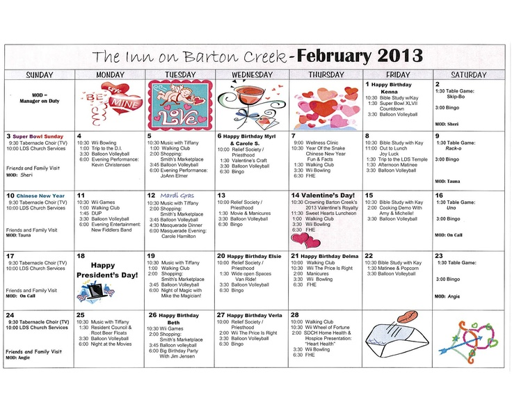 Nursing Home Activity Calendar Template Choice Image - Template ...