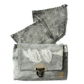 Recycle raw denim festival bag handmade