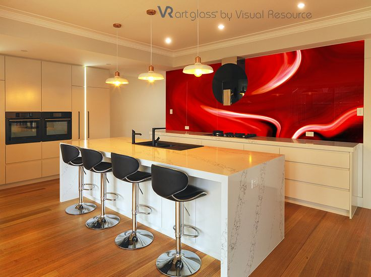 Aptly named Colour Splash this artwork transforms the kitchen. VR Art Glass splashback by Visual Resource